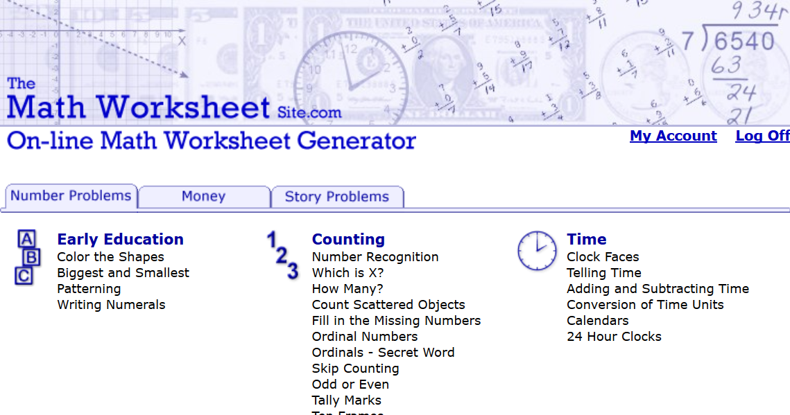 Math Worksheet Generator : The math worksheet site